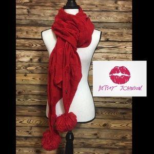 Betsey Johnson Red Scarf Fuzzy Hearts Pom Poms❤️